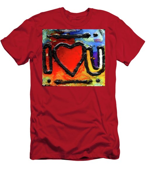 Men's T-Shirt (Slim Fit) featuring the painting I Heart You by Genevieve Esson