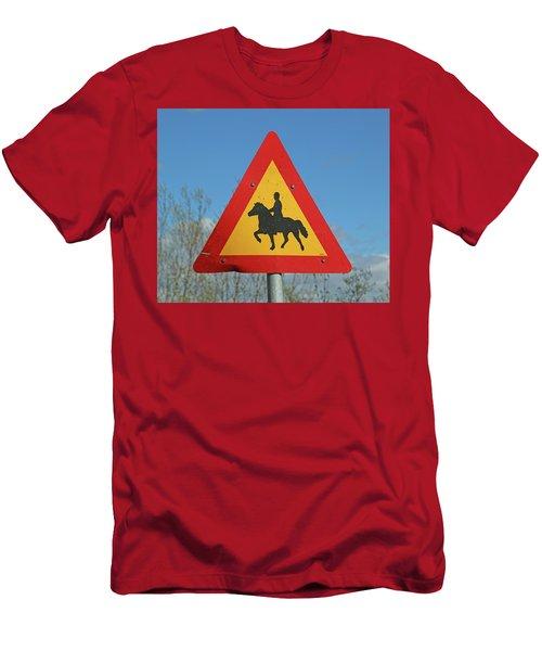 Icelandic Horse Crossing Sign Men's T-Shirt (Athletic Fit)