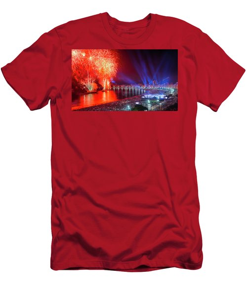 Iconic And Breath-taking Fireworks Display On Copacabana Beach,  Men's T-Shirt (Athletic Fit)