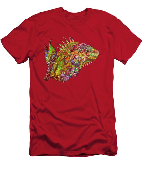 Men's T-Shirt (Slim Fit) featuring the mixed media Iguana Hot by Carol Cavalaris