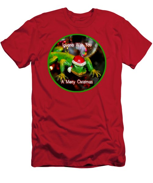 Iguana Wish You A Merry Christmas Men's T-Shirt (Athletic Fit)
