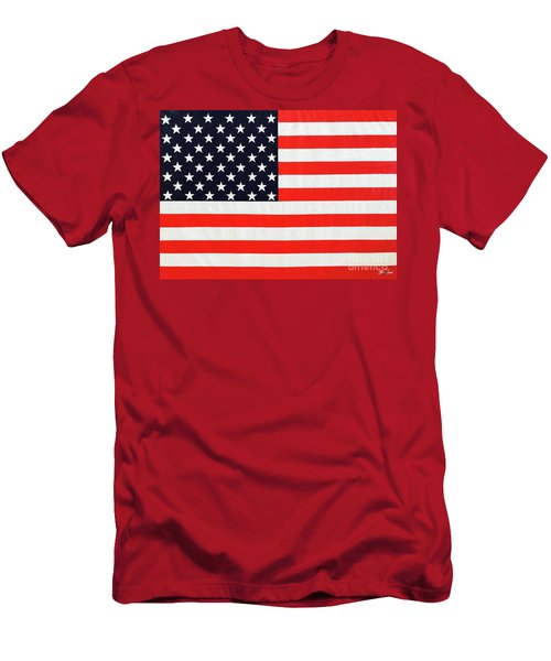 Pooling Independence Day Large Scale Oil On Canvas Original United States Flag Men's T-Shirt (Athletic Fit)