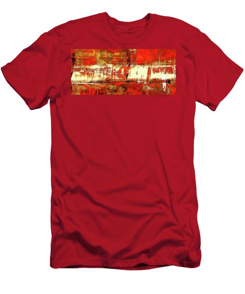 Indian Summer - Red Contemporary Abstract Men's T-Shirt (Slim Fit) by Modern Art Prints
