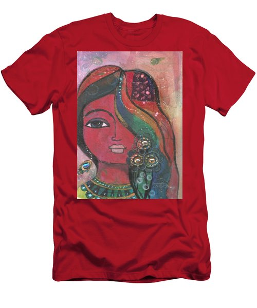 Indian Woman With Flowers  Men's T-Shirt (Athletic Fit)