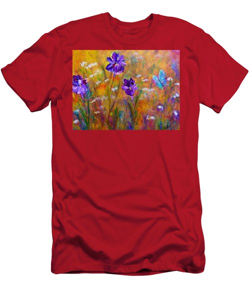Iris Wildflowers And Butterfly Men's T-Shirt (Athletic Fit)
