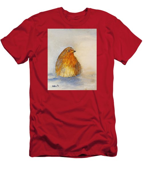 Irish Robin In The Snow Men's T-Shirt (Slim Fit) by Kathleen Pio