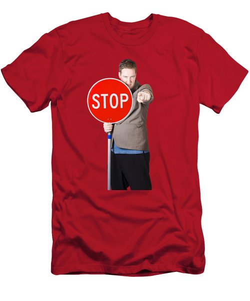 Isolated Man Holding Red Traffic Stop Sign Men's T-Shirt (Athletic Fit)