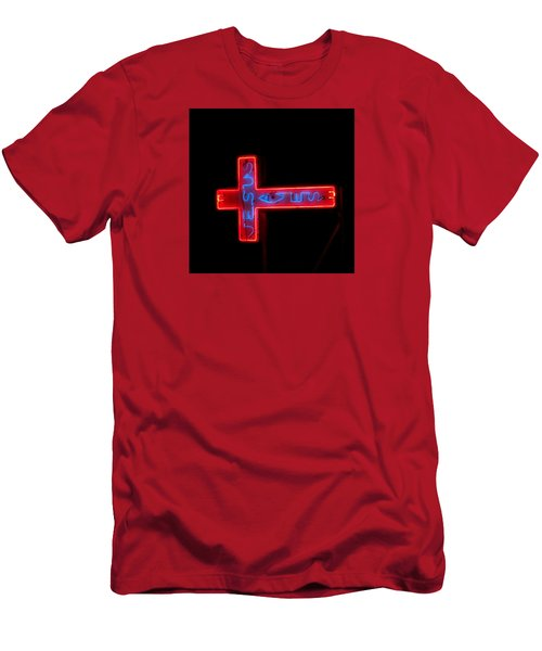 Jesus Saves At Night Men's T-Shirt (Athletic Fit)