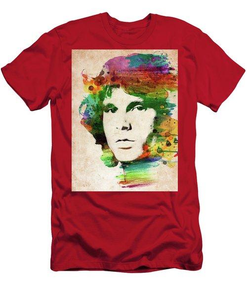 Jim Morrison Colorful Portrait Men's T-Shirt (Athletic Fit)