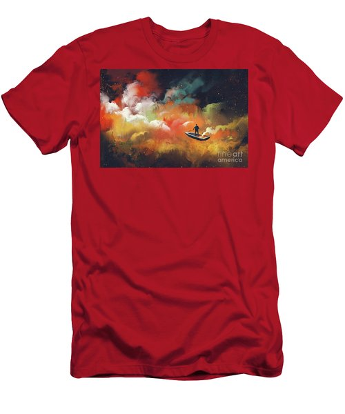 Men's T-Shirt (Athletic Fit) featuring the painting Journey To Outer Space by Tithi Luadthong