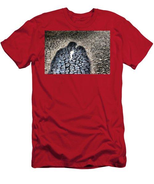 Kiss Me On The Cobblestone Men's T-Shirt (Slim Fit) by Dora Hathazi Mendes