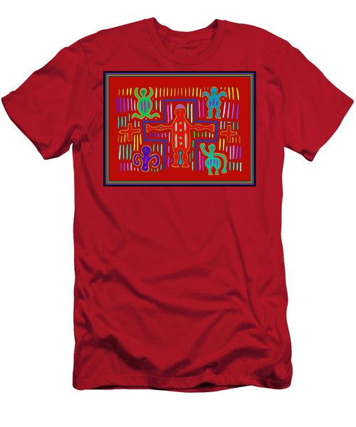 Men's T-Shirt (Athletic Fit) featuring the digital art Kuna Indian Mola Crucifix by Vagabond Folk Art - Virginia Vivier