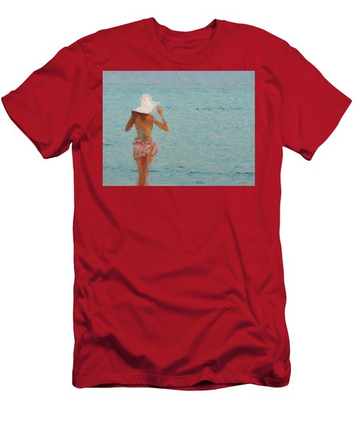 Lady At The Beach Men's T-Shirt (Athletic Fit)