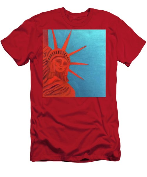 Men's T-Shirt (Slim Fit) featuring the painting Lady Liberty by Margaret Harmon