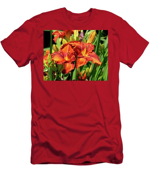 Large Deep Orange Tiger Lilys Men's T-Shirt (Athletic Fit)