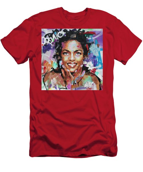 Men's T-Shirt (Slim Fit) featuring the painting Lauryn Hill by Richard Day