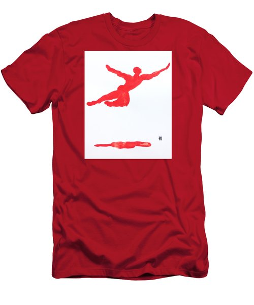 Men's T-Shirt (Slim Fit) featuring the painting Leap Water Vermillion by Shungaboy X