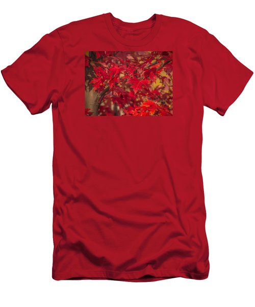 Men's T-Shirt (Slim Fit) featuring the photograph Leaves Of Red by Cathy Donohoue