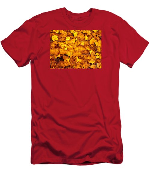 Men's T-Shirt (Slim Fit) featuring the photograph Leaves Of Sepia by Cathy Dee Janes