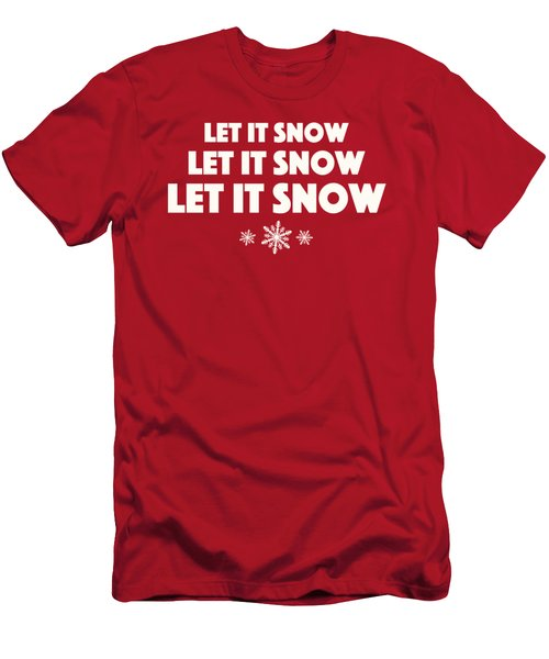 Let It Snow With Snowflakes Men's T-Shirt (Slim Fit) by Heidi Hermes