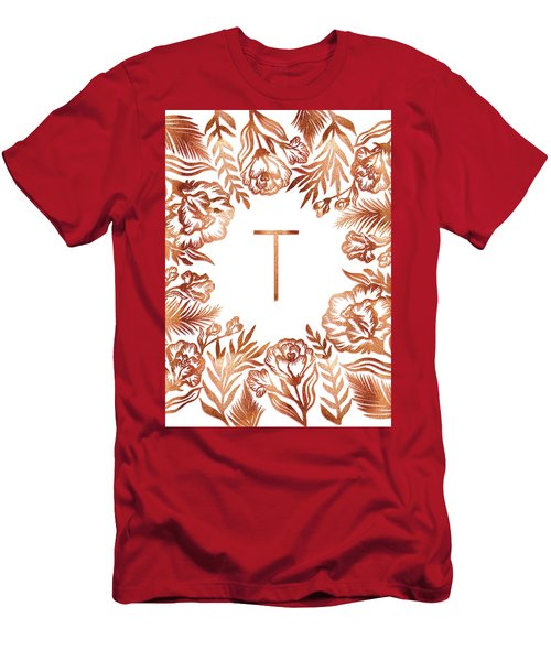 Letter T - Rose Gold Glitter Flowers Men's T-Shirt (Athletic Fit)