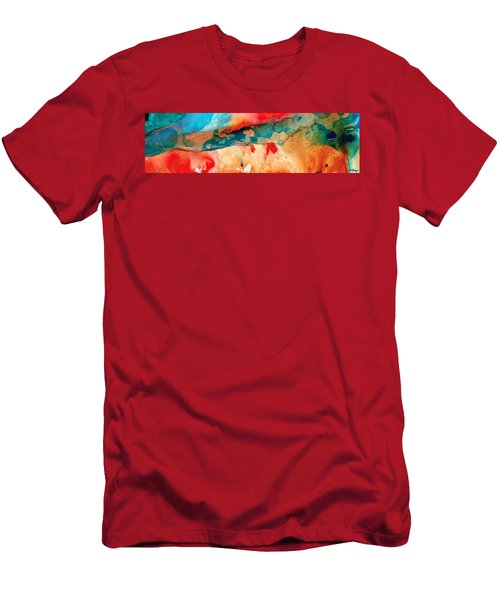 Life Eternal Red And Green Abstract Men's T-Shirt (Athletic Fit)