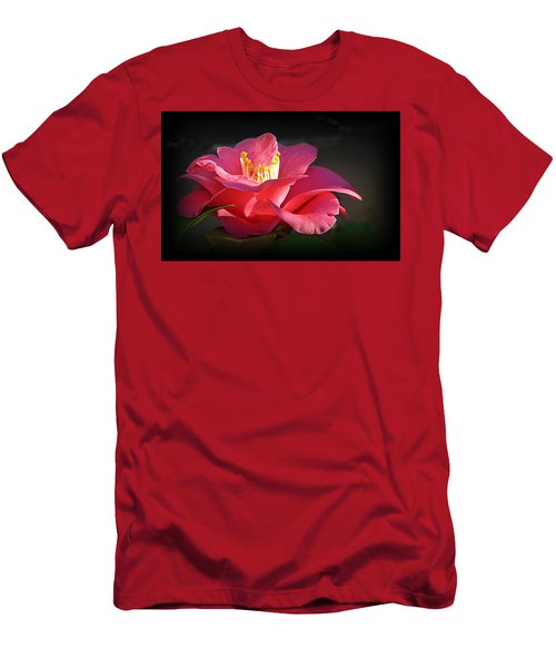 Men's T-Shirt (Athletic Fit) featuring the photograph Lighted Camellia by AJ Schibig
