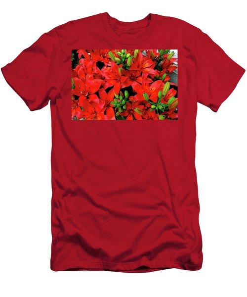 Men's T-Shirt (Slim Fit) featuring the photograph Lily Blossoms by LeeAnn McLaneGoetz McLaneGoetzStudioLLCcom