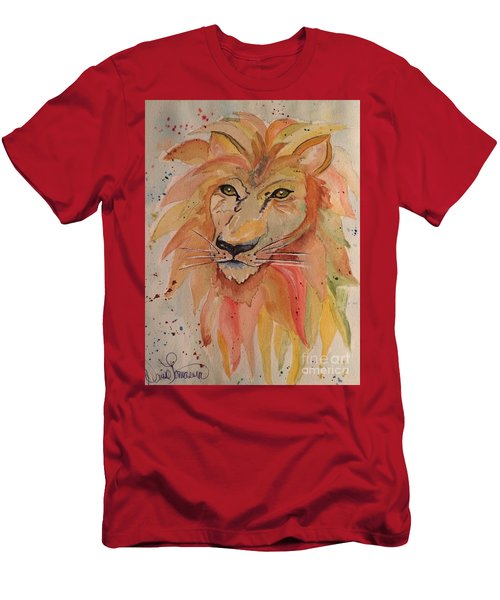 Men's T-Shirt (Athletic Fit) featuring the painting Lion by Denise Tomasura