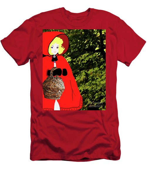Men's T-Shirt (Athletic Fit) featuring the painting Little Red Riding Hood In The Forest by Marian Cates