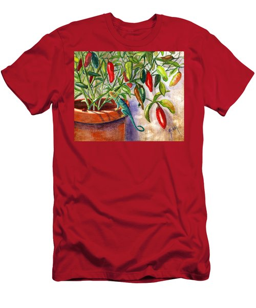 Men's T-Shirt (Slim Fit) featuring the painting Lizard In Hot Sauce by Marilyn Smith