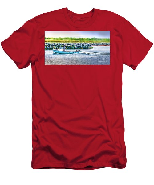 Lobster Fishing Day's End Men's T-Shirt (Slim Fit) by Patricia L Davidson