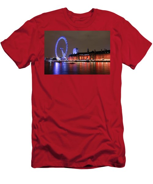 Men's T-Shirt (Athletic Fit) featuring the photograph London Eye By Night by RKAB Works
