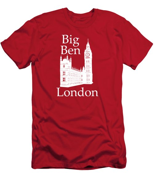 London's Big Ben In White - Vertical Men's T-Shirt (Athletic Fit)