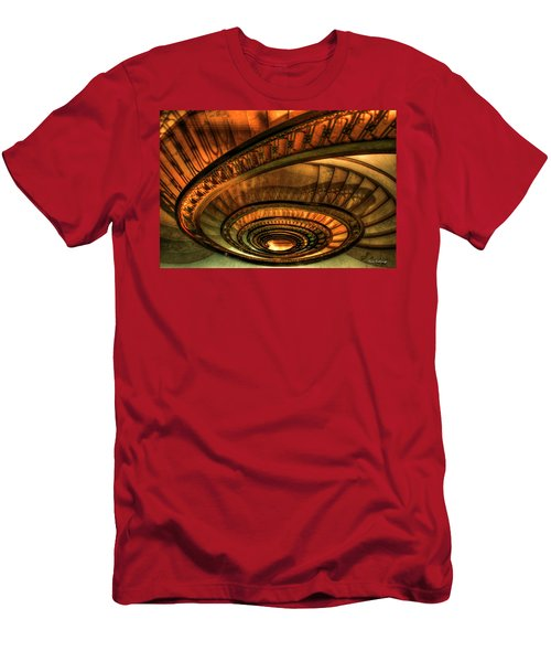Men's T-Shirt (Athletic Fit) featuring the photograph Looking Down The Ponce Spiral Staircase Atlanta Georgia Art by Reid Callaway