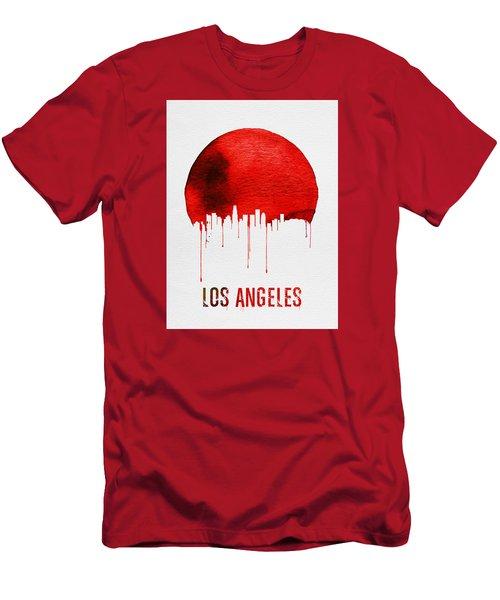Los Angeles Skyline Red Men's T-Shirt (Slim Fit) by Naxart Studio