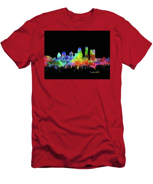 Louisville Kentucky Skyline Watercolor 12 Men's T-Shirt (Athletic Fit)