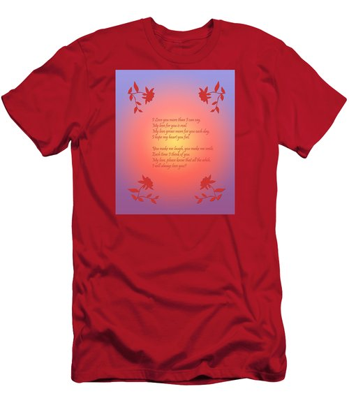 Men's T-Shirt (Slim Fit) featuring the digital art Love Poetry by Karen Nicholson