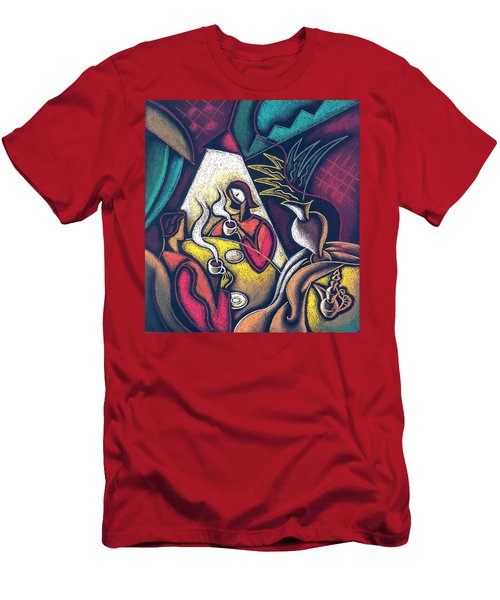 Men's T-Shirt (Slim Fit) featuring the painting Loving Relationship by Leon Zernitsky
