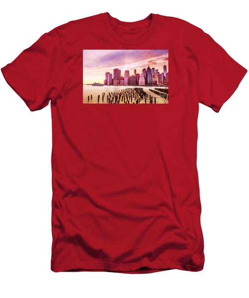 Lower Manhattan And Ferry Men's T-Shirt (Slim Fit) by Rima Biswas