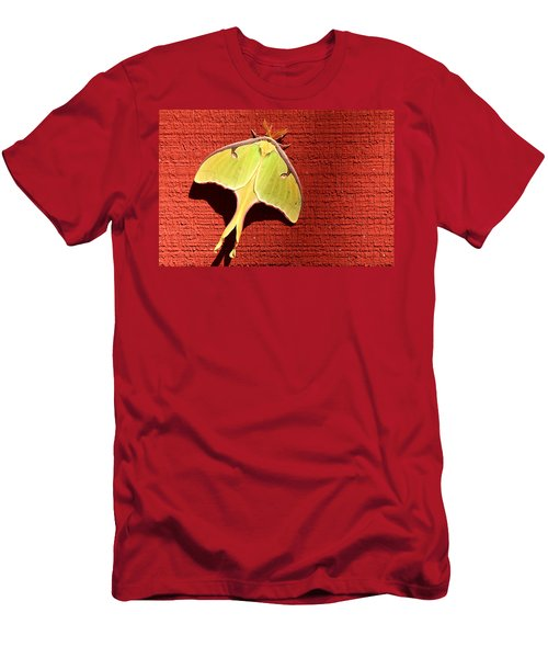 Luna Moth On Red Barn Men's T-Shirt (Athletic Fit)
