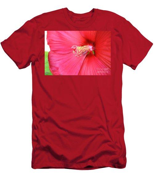 Macro Red Hibiscus Men's T-Shirt (Slim Fit) by Marsha Heiken
