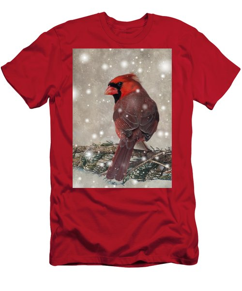 Male Cardinal In Snow #1 Men's T-Shirt (Athletic Fit)