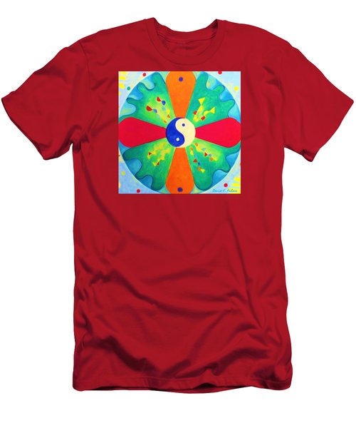 Men's T-Shirt (Slim Fit) featuring the painting Mandala by Denise Fulmer