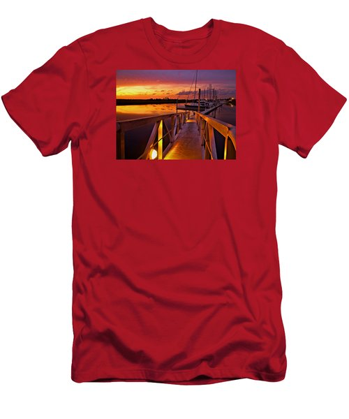 Men's T-Shirt (Slim Fit) featuring the photograph Marina Sunset by Laura Ragland