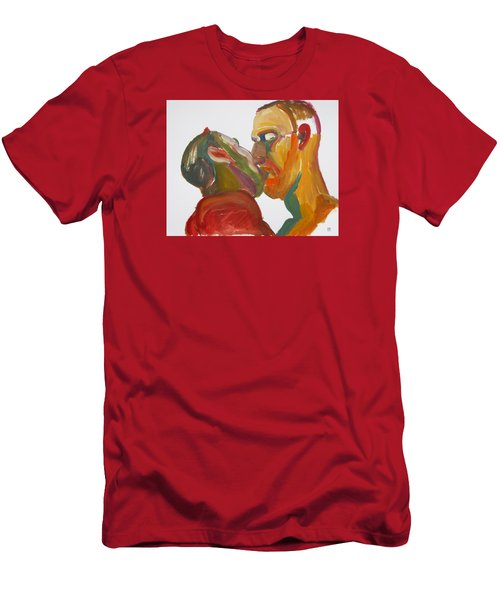 Men's T-Shirt (Slim Fit) featuring the painting Masculine Kiss by Shungaboy X
