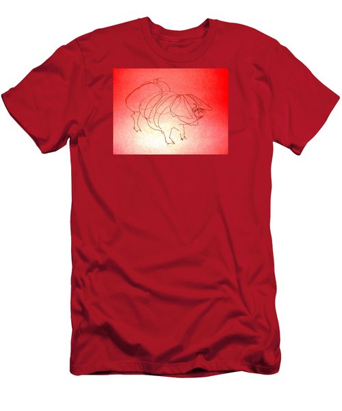 Men's T-Shirt (Slim Fit) featuring the drawing Meishan Sow 3 by Larry Campbell