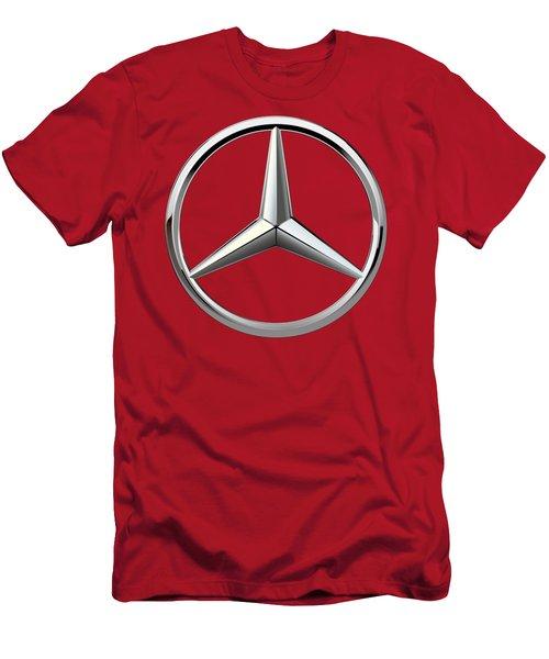 Mercedes-benz - 3d Badge On Red Men's T-Shirt (Slim Fit) by Serge Averbukh