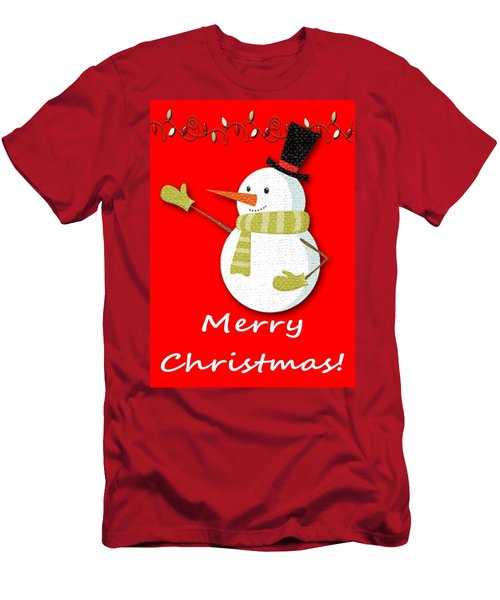 Merry Christmas Big Snow Man On Red Men's T-Shirt (Athletic Fit)