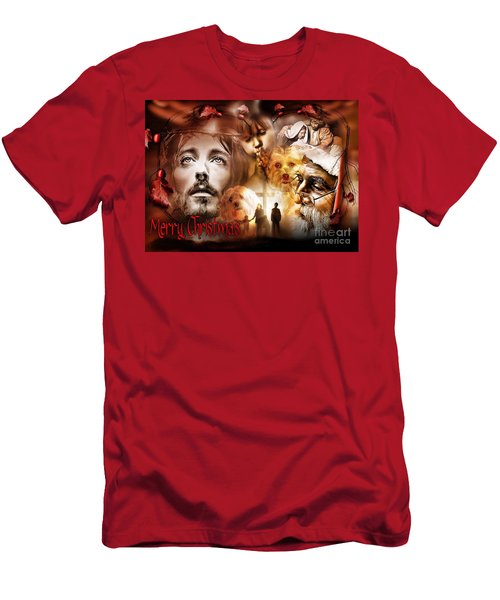 Men's T-Shirt (Athletic Fit) featuring the digital art Merry Christmas by Kathy Tarochione